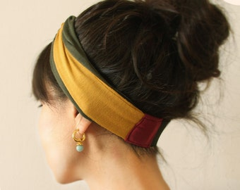 Knot Headband Yellow Army Green and Red