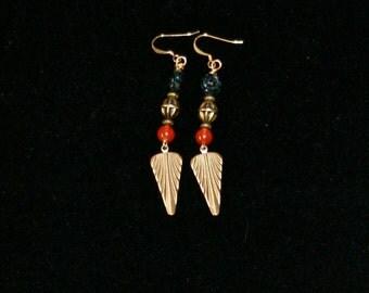 Bronze & Carnelian Earrings