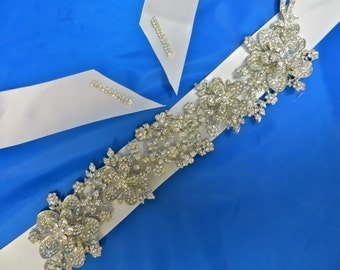 Rhinestone Bridal  Sash, Wedding Gown Accessory,  Bridal Crystal Sash, Rhinestone Bridal Belt
