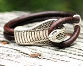 Cobra Bracelet , Leather Bracelet , Snake Bracelet , Silver Snake Bracelet , Reptile Jewelry , Snake Charmer , Amy Fine Design