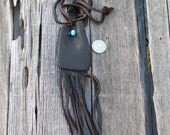 Fringed leather pouch ,   Fringed leather bag ,  Buckskin leather neck bag