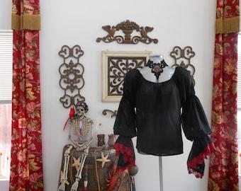 Black Sheer Renaissance Pirate Shirt Chemise Poet Blouse Top With Lace Trim. Different Colors Available.