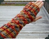 Knit Fingerless Gloves, Fingerless Mitts - Cable Autumn Colors - Red-Orange, Gold, Brown-Grey - Warm and Cozy for Fall and Winter