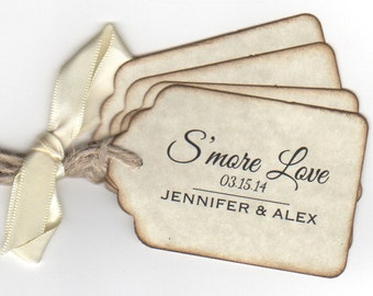 Smore Love Wedding Favor Tags, Personalized Label Hang Tags, S'more Favor Tags, Escort Place Card Tags, Set of 50  Vintage Style