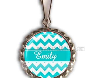 Personalized Zipper Pulls, Tiffany Blue Chevron Backpack Zipper Pull Charm - Chevorn pattern Custom Color
