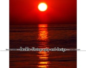 Red Sunrise Over Water photograph St. Clair Michigan