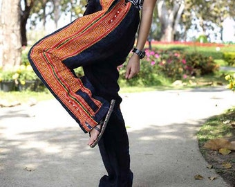 Black 100 percent hemp pants with Orange hand embroidery Tribal Ethnic