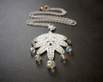 Long White Filigree Enameled Statement Necklace with Vintage Aurora Borealis Crystal Bead Dangles