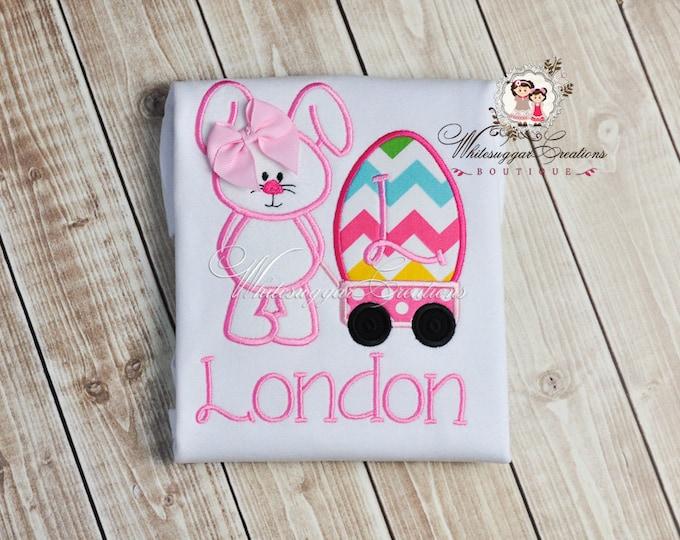 Whimsical Easter Bunny with Wagon Shirt, Custom Bunny Shirt, Bunny Shirt, Baby 1st Easter Outfit, Easter Shirt, Baby Easter Outfit