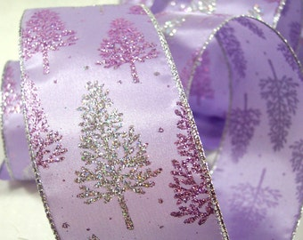 Christmas Ribbon Lavender Satin with Glitter Trees Wire Edge Wide Width