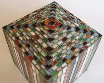 Large stained glass jewelry box  - Ziggurat design