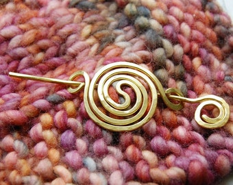 Scarf pin spiral shawl brooch in copper or brass