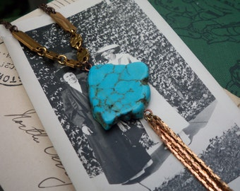 turquoise jewelry / turquoise necklace / vintage brass / TURQUOISE & TASSEL