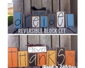 Hanukah Thanksgiving reversible Menorah Wood Block Stacker Set Jewish Holiday fall autumn dreidel gift decoration personalized