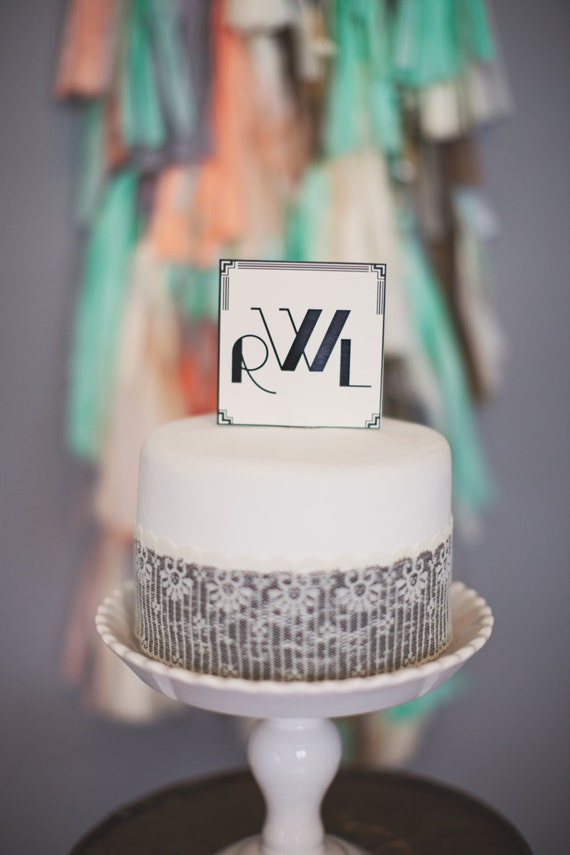 Art Deco Monogram Cake Topper : Art Deco Square Cake Topper: Monogrammed by tuckandbonte ...