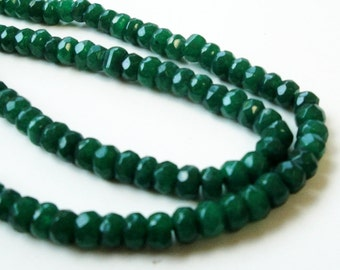 """Quartz Beads - Green Micro Faceted - Crystal Rondelle Beads - Small Sparkly Gemstone  5mmx3mm - 7.5"""" Strand - DIY Quartz For Jewelry Project"""