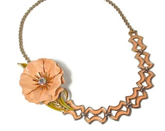 Upcycled, Repurposed  Peach Flower Necklace, Statement Necklaces,  Peach Wedding, Mother's Day Gift, Vintage