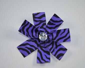 Large purple & black zebra print ribbon flower hair alligator clip with clear rhinestone bling