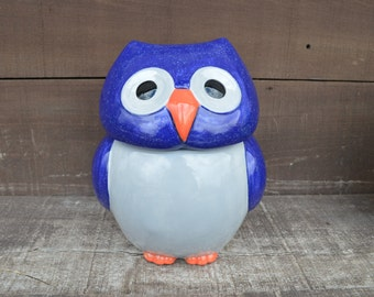 Whooo Loves Owls - Large Modern Ceramic Owl Cookie Jar - Handpainted Speckled Navy Blue with Silver Gray