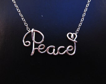 Sterling Silver Wire Name Necklace, Silver Peace Necklace, Silver Faith Necklace, Silver Wire Word Necklace, Wire Cursive Name Necklace