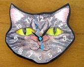 Grey Tabby  Maine Coon Cat Head Clock