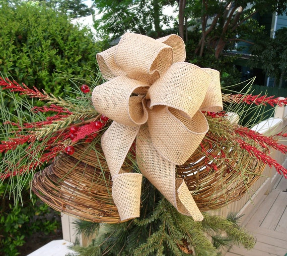 Christmas tree topper ribbon bow topper burlap tree by for Burlap ribbon on tree