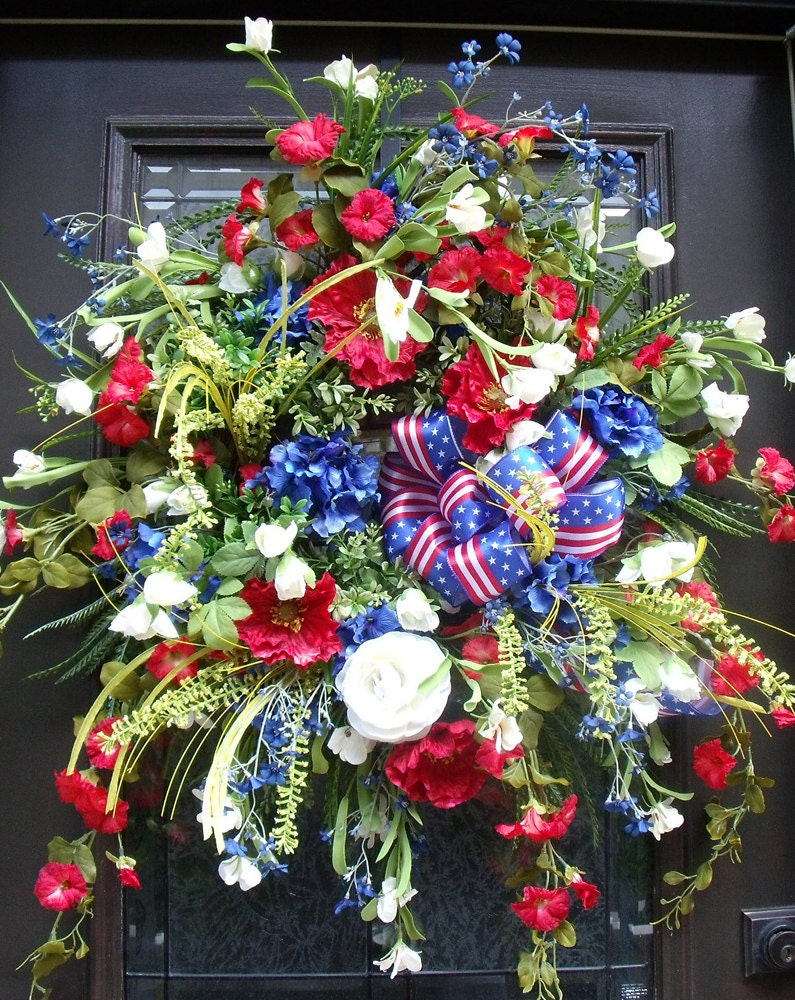 Patriotic Wreath Elegant 4th Of July Wreaths Red White And