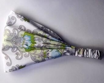 Yoga Headband Cotton Bandana - Lila Tueller for Riley Blake, Priscilla, Damask in Green fabric