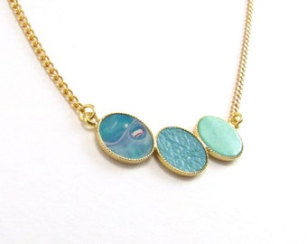 turquoise Skin-Print- 24k gold-plated Necklace -geonetric necklace- leather necklace- urban necklace- bridesmaid gift- weddings- by Punchaos