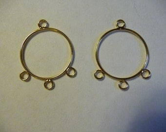 SALE!!  Drop, Gold Plated, Steel, 21mm, Round, with 3 Loops, Pkg Of 4  SALE!!