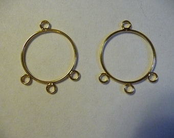 SALE!!  Drop, Gold Plated, Steel, 21mm, Round, with 3 Loops, Pkg Of 6  SALE!!