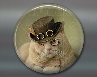 steampunk cat art magnet - gifts for cat lovers - steampunk home decor - fridge magnet for the kitchen- stocking  stuffers for women MA-1024
