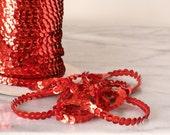 Red Sequin Trim Single String Strand Metallic Faceted Vintage  2 yards