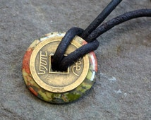 Leather Necklace with Unakite Donut and Lucky Chinese Coin Surfer Jewelry