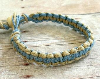 Surfer Macrame Hemp Bracelet Light Blue and Natural, Woven Knot Friendship Bracelets