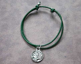 Green Leather Surfer Anklet With Roman Coin Charm