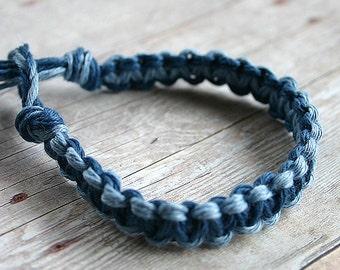 Surfer Macrame Hemp Bracelet Blue Lightblue Woven Knot Friendship Bracelets