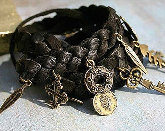 Old Pirate Leather Wrap Bracelet Deerskin Brass Charms Fits All Wrist Sizes