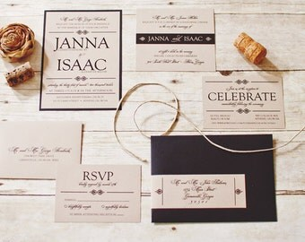 Rustic Kraft Wedding Invitation Set Sample in Black and Tan Wedding invitation Design