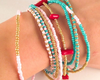 Beaded wrap bracelet beaded bracelet wrap bracelet friendship bracelet delicate Victoria's secret inspired jewelry turquoise gold coral pink