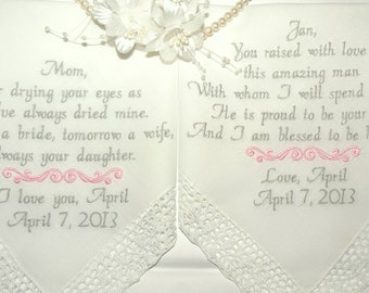 Wedding Gifts Mother Of the Bride, Mother In-Law, Wedding Gift, Personalized, Embroidered Wedding Hankerchief, Set of 2 by Canyon Embroidery