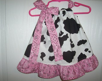 Pillowcase cow print dress your choice of bandana tie and ruffle infant thru 7/8 years