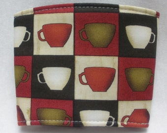 Coffee Cozy -  Coffee Cuff -  Coffee Sleeve - Reuseable Fabric Cozy - Eco Friendly - Coffee Cups - Brown