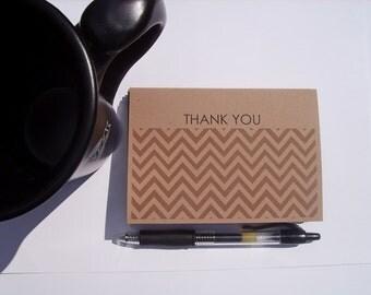 Chevron Thank You Cards - Espresso Brown Chevron Thank You Notes, Modern Thank You Cards, Rustic Earthy Neutral Stationery Thank You Set