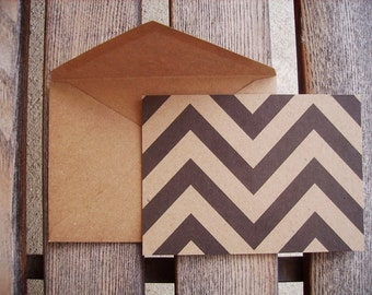 Chevron Kraft & Black Note Cards - Flat Card Set, Modern Rustic Kraft Paper Black Chevron Stationery, Chevron Thank You Notes