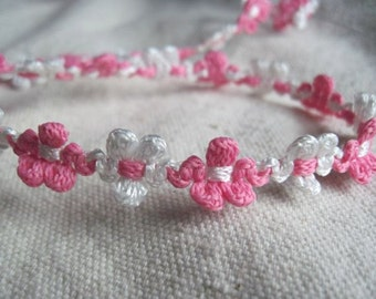 PINK and WHITE flower braid trim