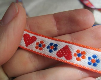 RED Hearts and Blooms on WHITE woven jacquard ribbon