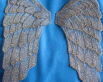 Antique Gold Gold large Wings SEW ON applique