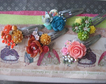 Autumn Flower Bouquets.vintage flower jewelry assemblage hair clips