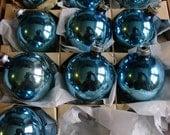 Shabby Chic Vintage Glass Ornaments//blues/Shiny Brite